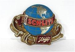 Large 1976 Schlitz Brewing Globe Advertising Sign