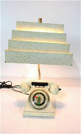 Mid Century White Spackle Phone Lamp