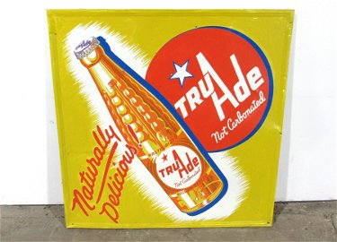 """Tru Ade """"Naturally Delicious"""" Soda Embossed Sign"""