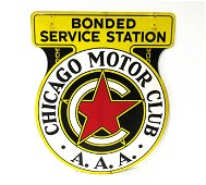 3 FT Chicago Motor Club AAA Porcelain Double Sided Sign