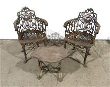 Victorian Cast Iron Chairs with Stone Top Table