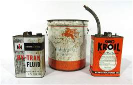 Grease Cans Including 5 Gallon with Mobil Oil Pegasus