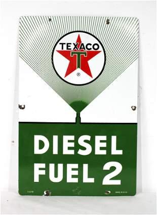 1960 Texaco Diesel Fuel 2 Porcelain Pump Sign