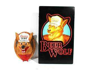 Coors Light Beer Wolf Advertising Signs