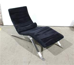 Modern Suede and Chrome Lounge Chair