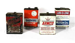 Four Two Gallon Oil Cans including Armco and Saphire