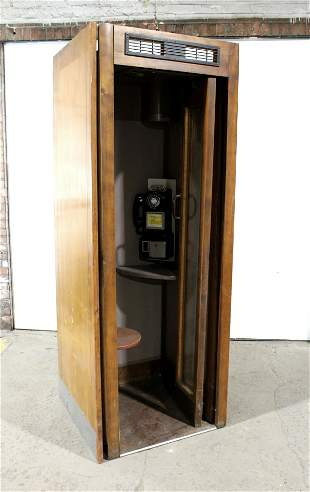 Antique Wooden Phone Booth with Phone