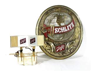 1970s Schlitz Beer Sign and Bar Caddy