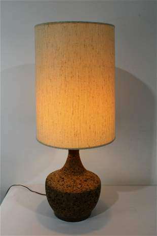 Cork and Wood Mid Century Table Lamp