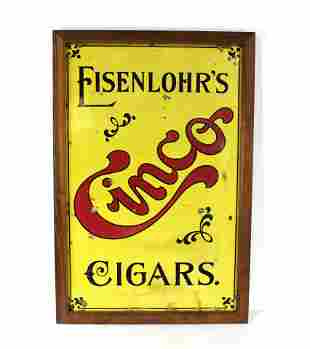 Eisenlohr's Cinco Cigars Framed Porcelain Sign