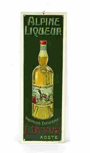 Embossed Alpine Liqueur Tin Advertising Sign
