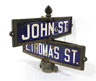 Porcelain Two Way Street Sign, John St. & E. Thomas St