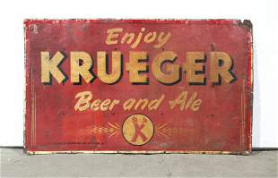 5 FT Krueger Beer & Ale Embossed Advertising Sign