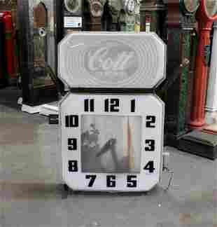 1950s Cott Beverage Neon Clock Sign