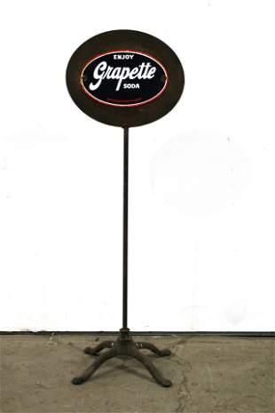 Grapettte Soda Porcelain Sign on Base