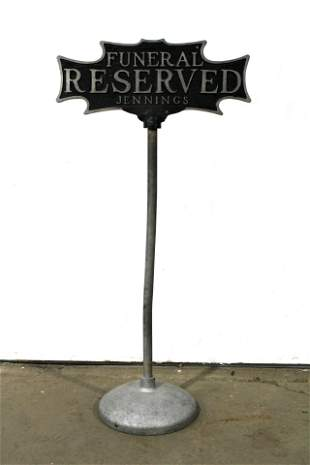 Funeral Reserved Parking Cast Iron DS Curb Sign