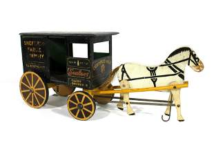 1920s Sheffield Farms Dairy Wooden Carriage with Horse