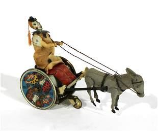Lehmann Balky Mule Donkey Clown Cart German Tin Toy
