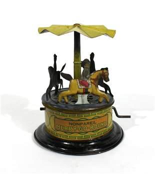 Nonpareil Hand-Crank Tin Carousel Merry Go Round Toy