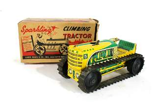Marx Climbing Tractor Tin Toy in Box