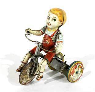 Kiddy Cyclist by Unique Art Tin Wind-Up Toy