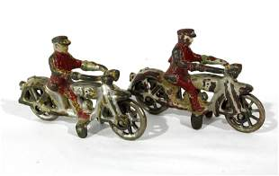 Hubley Cast Iron Motorcycle Toys, Lot 2