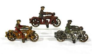 Hubley Cast Iron Motorcycle Cop Toys, Lot 3