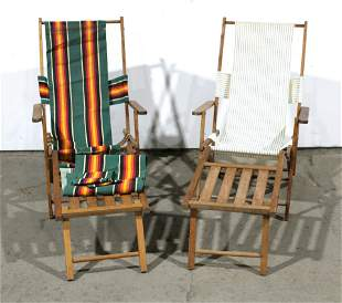 Antique Wooden Folding Beach Lounge Chairs