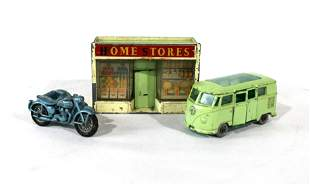 Matchbox VW Bus, Triumph Motorcycle, Sidecar and Store
