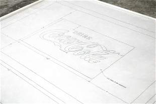 """Coca Cola Blueprint, """"Silk Screen for Red Background"""""""