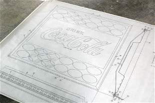 """Coca Cola Arch. Drawing """"Lighted Panel Frame"""", 1965"""