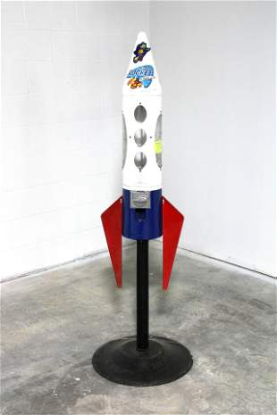 Retro Rocket Coin Operated Gumball Machine
