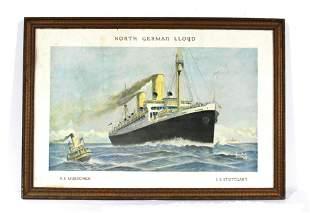 North German Lloyd Cruise Ship Cardbord Litho, 1923