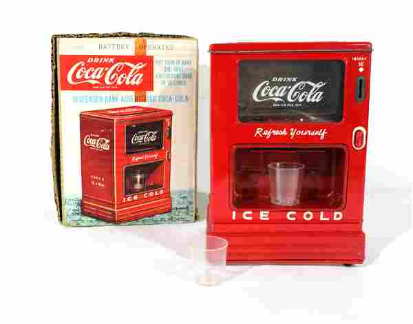 Linemar Toys Tin Coca Cola Vending Machine Bank w/ Box