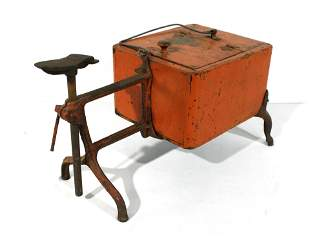Early Wooden and Cast Iron Shoe Shine Box