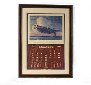 Thompson Products Calendar Feat. Mariner Airplane, 1945