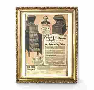 Edison Phonographs Framed Advertisement, 1921
