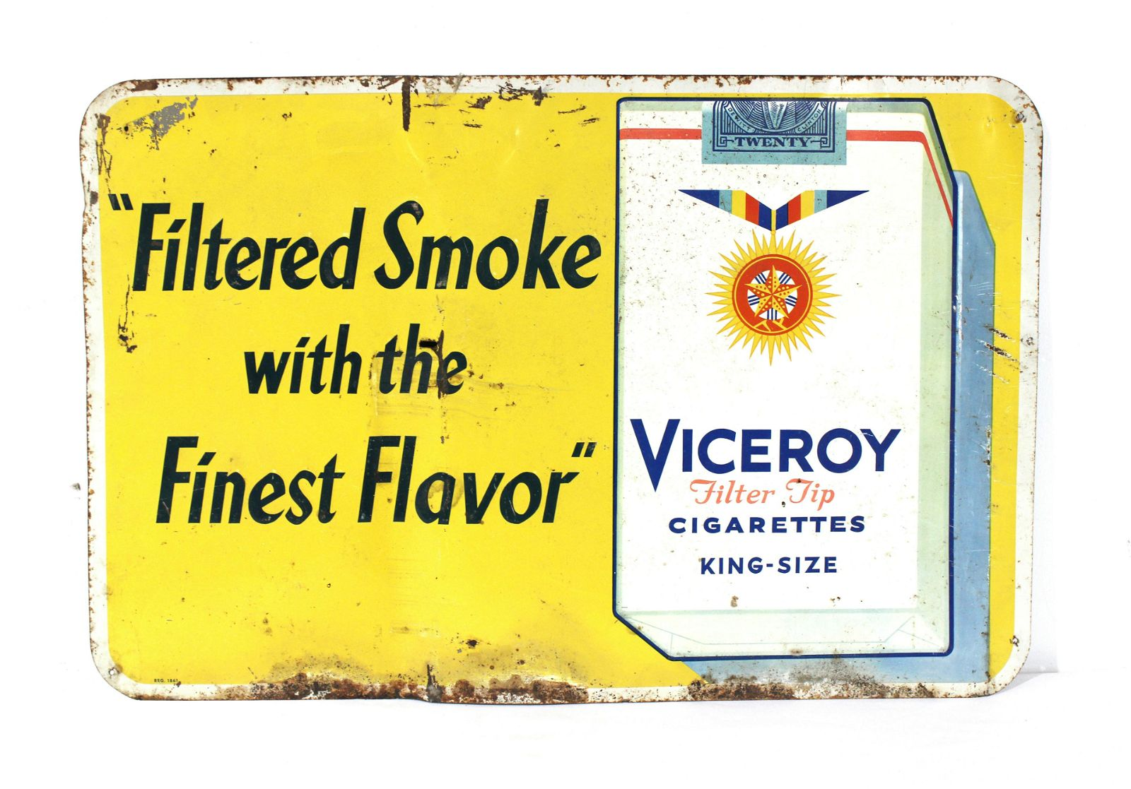 Viceroy Cigarettes Tobacco Advertising Tin Sign