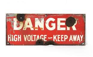 Danger High Voltage Porcelain Sign