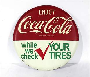 Coca Cola Check Your Tires Coke Button, Repro