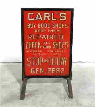 Early Carl's Shoe Store Sidewalk Sign