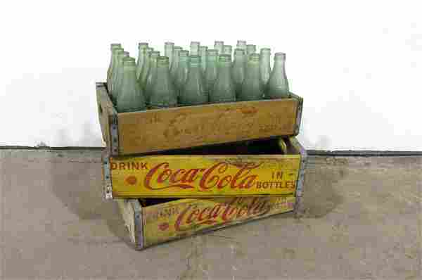 Three Vintage Coca-Cola Crates with Bottles