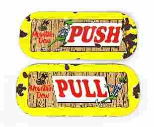 Mountain Dew Porcelain Push / Pull Plates