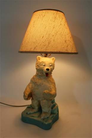 Fehr's Beer Bear Chalkware Lamp