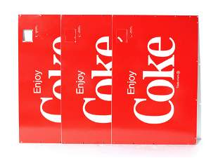 NOS Coke Cooler Marquee Signs, Lot of 3