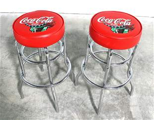 Pair of Coca Cola Themed Bar Stools