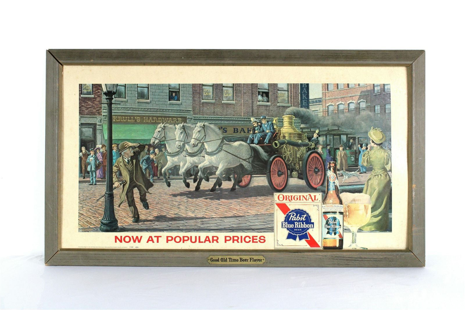 PBR, Pabst Blue Ribbon Cardboard Advertisement in Frame