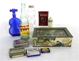 Advertising Tins and Bottles, Incl. Velvet Tobacco Tin