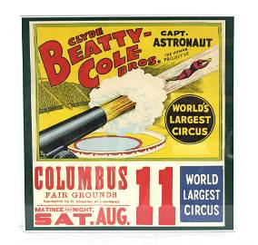 """Clyde Beatty-Cole Bros """"The Human Projectile"""" Circus"""
