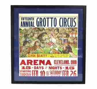 Clyde Beatty Grotto Circus Poster, Framed